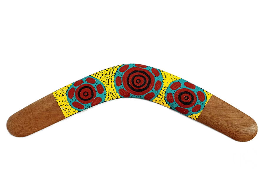 Hand Painted Boomerang 001, Warlukurlangu Artists